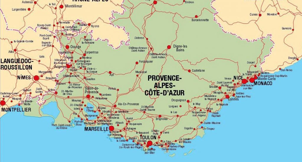 Provence and Cote D'Azure Map